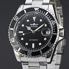 preiswerte Herrenuhren-WINNER Herrn Kleideruhr Armbanduhr Mechanische Uhr Automatikaufzug 30 m Kalender Edelstahl Band Analog Luxus Freizeit Silber - Schwarz