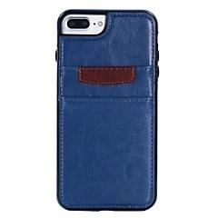 Кейс для Назначение Apple iPhone X iPhone 8 Plus Бумажник для карт Защита от удара Задняя крышка Сплошной цвет Мягкий Искусственная кожа