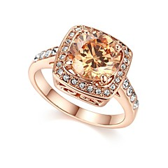 Women's Band Rings Cubic Zirconia Vintage Elegant Rose Gold Zircon Geometric Jewelry For Wedding Evening Party