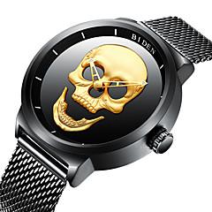 preiswerte Tolle Angebote auf Uhren-BIDEN Herrn Armbanduhr Quartz 30 m Wasserdicht Cool Totenkopf Edelstahl Band Analog Retro Freizeit Modisch Schwarz - Gold Schwarz