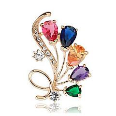 hesapli -Kadın's Broşlar Kristal Sentetik Pırlanta Çiçek Klasik Moda Kristal Simüle Elmas alaşım Mücevher Uyumluluk Günlük Resmi