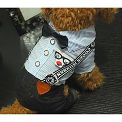 Χαμηλού Κόστους Ρούχα και αξεσουάρ για σκύλους-Σκύλος Φόρμες Ρούχα για σκύλους Καθημερινά Ριγέ Μπλε Στολές Για κατοικίδια