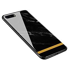Недорогие Кейсы для iPhone 6 Plus-Кейс для Назначение Apple iPhone X / iPhone 8 Plus С узором Кейс на заднюю панель Мрамор Мягкий Закаленное стекло для iPhone X / iPhone 8 Pluss / iPhone 8
