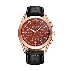 お買い得  メンズ腕時計-男性用 リストウォッチ 中国 カレンダー レザー バンド カジュアル / ファッション ブラック / ブラウン