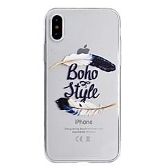 Недорогие Кейсы для iPhone 7 Plus-Кейс для Назначение Apple iPhone X iPhone 8 Ультратонкий Полупрозрачный С узором Кейс на заднюю панель  Перья Мягкий ТПУ для iPhone X