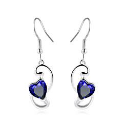 voordelige Druppeloorbellen-Dames Druppel oorbellen Synthetische Sapphire Eenvoudig Elegant Modieus Koper Glas Hart Sieraden Bruiloft Feest