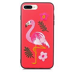Недорогие Кейсы для iPhone X-Кейс для Назначение Apple iPhone X iPhone 8 Защита от удара С узором Рельефный Своими руками Кейс на заднюю панель Фламинго Твердый Кожа
