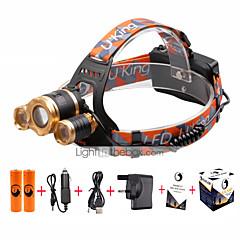 preiswerte Stirnlampen-U'King Stirnlampen Fahrradlicht LED LED 4800 lm 3 4.0 Beleuchtungsmodus inklusive Batterien und Ladegerät Zoomable-, einstellbarer Fokus, Kompakte Größe Camping / Wandern / Erkundungen, Für den
