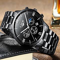 お買い得  メンズ腕時計-男性用 機械式時計 日本産 カレンダー / クロノグラフ付き / 耐水 ステンレス バンド ぜいたく / Elegant / クリスマス ブラック / シルバー