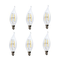 abordables LED e Iluminación-GMY® 6pcs 2W 200 lm E12 Bombillas de Filamento LED CA10 2 leds COB Regulable Decorativa Luz LED Blanco Cálido AC 110-130V