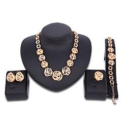 Women's Jewelry Set Oversized Statement Jewelry Wedding Party Zircon Gold Plated Alloy Flower 1 Necklace 1 Bracelet 1 Ring Earrings