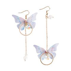 preiswerte Ohrringe-Damen Perle Nicht übereinstimmend / Lang Tropfen-Ohrringe - Künstliche Perle Schmetterling Modisch Gold Für Party