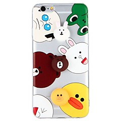 Недорогие Кейсы для iPhone 6-Кейс для Назначение Apple iPhone 7 iPhone 6 Прозрачный С узором Своими руками Задняя крышка Животное Мультипликация 3D в мультяшном стиле