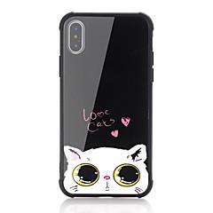 Недорогие Кейсы для iPhone 7 Plus-Кейс для Назначение Apple iPhone X iPhone 8 Защита от удара С узором Кейс на заднюю панель Кот Слова / выражения С сердцем Твердый