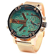 お買い得  大特価腕時計-JUBAOLI 男性用 リストウォッチ クォーツ クール 大きめ文字盤 ステンレス バンド ハンズ ローズゴールド - ライトブルー イエロー グリーン