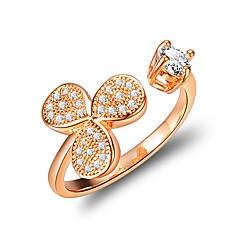 Women's Cuff Ring Cubic Zirconia Fashion European Copper Flower Jewelry Daily Going out