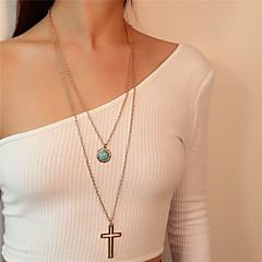 preiswerte Halsketten-Damen Türkis Mehrschichtig Anhängerketten / Statement Ketten - Türkis Kreuz Mehrlagig Gold, Silber Modische Halsketten Schmuck Für Alltag, Strasse