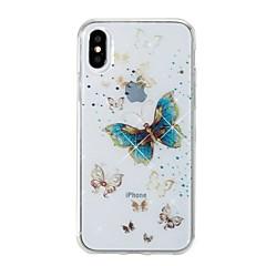 Недорогие Кейсы для iPhone 6 Plus-Кейс для Назначение Apple iPhone X / iPhone 8 IMD / С узором Кейс на заднюю панель Бабочка / Сияние и блеск Мягкий ТПУ для iPhone X / iPhone 8 Pluss / iPhone 8