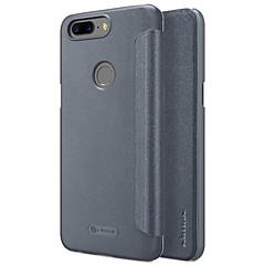 お買い得  その他のケース-ケース 用途 OnePlus 5 フリップ つや消し オートスリープ/ウェイクアップ フルボディーケース 純色 ハード PUレザー のために One Plus 5 OnePlus 5T
