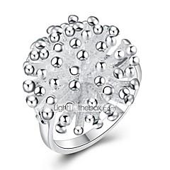 お買い得  指輪-女性用 かわいい 銅 / 銀メッキ フラワー バンドリング - ファッション シルバー リング 用途 パーティー / 日常 / オフィス&キャリア