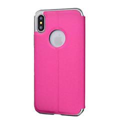 Недорогие Кейсы для iPhone X-Кейс для Назначение iPhone 5 Apple iPhone X iPhone X iPhone 8 Кейс для iPhone 5 с окошком Чехол Сплошной цвет Твердый Кожа PU для iPhone