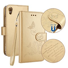 olcso Sony tokok-Case Kompatibilitás Sony Xperia XA1 Kártyatartó Pénztárca Állvánnyal Flip Dombornyomott Teljes védelem Pillangó Kemény Műbőr Bőr mert