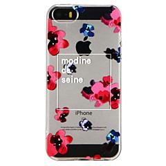 Недорогие Кейсы для iPhone 6-Кейс для Назначение Apple iPhone 6 iPhone 7 Полупрозрачный С узором Рельефный Кейс на заднюю панель Цветы Мягкий ТПУ для iPhone X iPhone