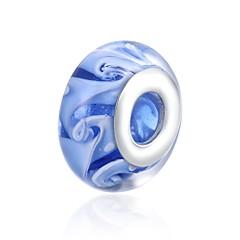 お買い得  ビーズ&ジュエリー製作-DIYジュエリー 1 個 ビーズ ガラス シルバー ライトブルー ボール型 ビーズ 1.4 cm DIY ネックレス ブレスレット