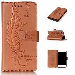 Недорогие Кейсы для iPhone-Кейс для Назначение Apple iPhone 8 iPhone 8 Plus Бумажник для карт Кошелек со стендом Флип Рельефный  Перья Твердый для