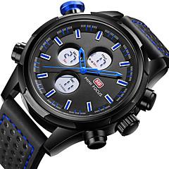 preiswerte Herrenuhren-MINI FOCUS Herrn Armbanduhr Japanisch LCD / Duale Zeitzonen / Armbanduhren für den Alltag Echtes Leder Band Luxus / Freizeit Schwarz / Edelstahl