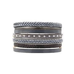 preiswerte Armbänder-Damen Wickelarmbänder - Leder Einfach, Klassisch, Retro Armbänder Grau Für Alltag / Ausgehen
