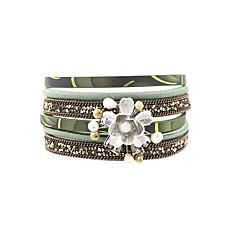 preiswerte Armbänder-Damen Wickelarmbänder - Perle, Leder, vergoldet Blume Retro, Böhmische, Boho Armbänder Braun / Grün / Blau Für Festtage / Ausgehen