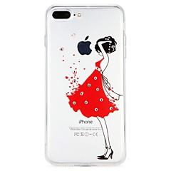 Недорогие Кейсы для iPhone 7-Кейс для Назначение Apple iPhone 6 iPhone 7 Стразы Рельефный Кейс на заднюю панель Соблазнительная девушка Мягкий ТПУ для iPhone 8 Pluss