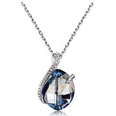 preiswerte Halsketten-Damen Kristall Kubikzirkonia Anhängerketten - Krystall, Zirkon, versilbert Klassisch Hellblau Modische Halsketten Schmuck Für Party, Abiball