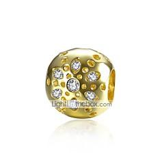 お買い得  ビーズ&ジュエリー製作-DIYジュエリー 1 個 ビーズ ゴールドメッキ シルバー イミテーションダイヤモンド ゴールド ボール型 ビーズ 1.1 cm DIY ネックレス ブレスレット