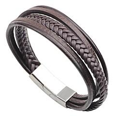preiswerte Armbänder-Herrn Armband - Edelstahl, Leder Modisch Armbänder Schwarz / Kaffee Für Strasse Ausgehen