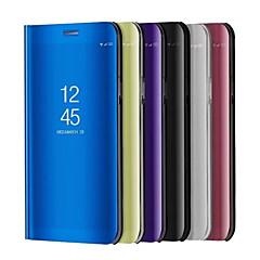 Недорогие Чехлы и кейсы для Xiaomi-Кейс для Назначение Xiaomi со стендом Покрытие Зеркальная поверхность Флип Авто Режим сна / Пробуждение Чехол Сплошной цвет Твердый Кожа