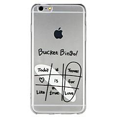 Недорогие Кейсы для iPhone 6-Кейс для Назначение Apple iPhone 6 iPhone 7 Полупрозрачный С узором Рельефный Кейс на заднюю панель Слова / выражения Мультипликация