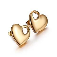 Недорогие Женские украшения-Жен. Серьги-гвоздики , Простой Милая Elegant Позолоченное розовым золотом Сердце Бижутерия Повседневные