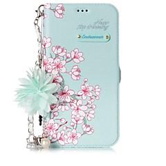 Кейс для Назначение Apple iPhone X iPhone 8 Бумажник для карт со стендом Флип С узором Своими руками Чехол Цветы Твердый Искусственная