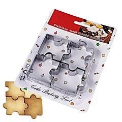 お買い得  ベイキング用品&ガジェット-4本のパズルピースクッキーカッターステンレスケーキモールドベークツール
