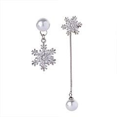 preiswerte Ohrringe-Damen Kubikzirkonia Quaste / Nicht übereinstimmend Tropfen-Ohrringe - Künstliche Perle, Zirkon Schneeflocke Silber Für Abschluss / Alltag