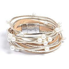 お買い得  ブレスレット-女性用 ラップブレスレット  -  人造真珠, レザー クラシック, ファッション ブレスレット ゴールド 用途 日常