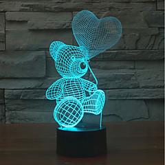 お買い得  LED アイデアライト-1個 3Dナイトライト タッチ7色 AAAバッテリ駆動 タッチセンサ USBポート付き