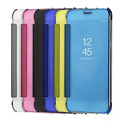 Недорогие Чехлы и кейсы для Galaxy Note 5-Кейс для Назначение SSamsung Galaxy Note 8 Note 5 Покрытие Зеркальная поверхность Флип Сплошной цвет Твердый для