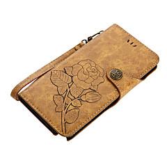 Недорогие Чехлы и кейсы для Galaxy Note 5-Кейс для Назначение SSamsung Galaxy Note 8 Note 5 Бумажник для карт Кошелек со стендом Флип Магнитный С узором Чехол Цветы Твердый Кожа PU