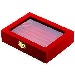 abordables Embalajes y expositores para joyería-Cajas de Joyería Caja de la mancuerna Cuadrado Negro Rojo Tejido