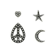 preiswerte Ohrringe-Damen Ohrstecker / Ohr-Stulpen - MOON, Herz, Stern Einfach, Grundlegend Silber Für Alltag / Verabredung