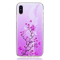 Недорогие Кейсы для iPhone 7-Кейс для Назначение Apple iPhone X iPhone 8 Защита от удара Ультратонкий С узором Задняя крышка Цветы Мягкий TPU для iPhone X iPhone 8
