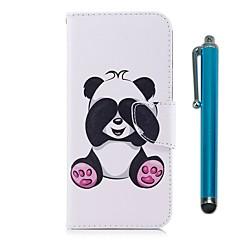 voordelige Apple-accessoires Weekaanbiedingen-hoesje Voor Apple iPhone X iPhone 8 Plus Kaarthouder Portemonnee met standaard Flip Magnetisch Volledig hoesje Panda Hard PU-nahka TPU